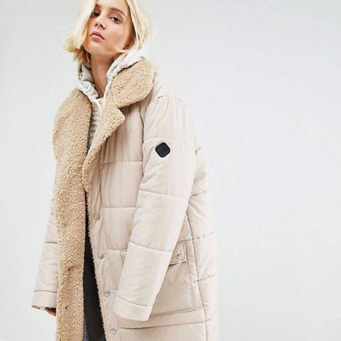 Oversized Padded Coat With Faux-Shearling Shawl Collar
