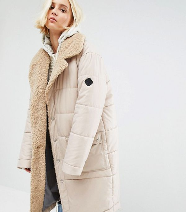 best winter coats: Puffa Oversized Padded Coat With Faux Shearling Shawl Collar