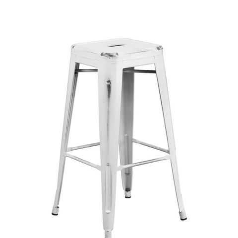 Backless Distressed White Metal Barstool