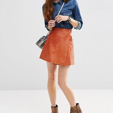 Leather Wrap Mini Skirt