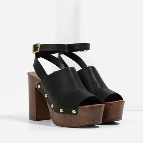 Rivet Detail Platform Sandals