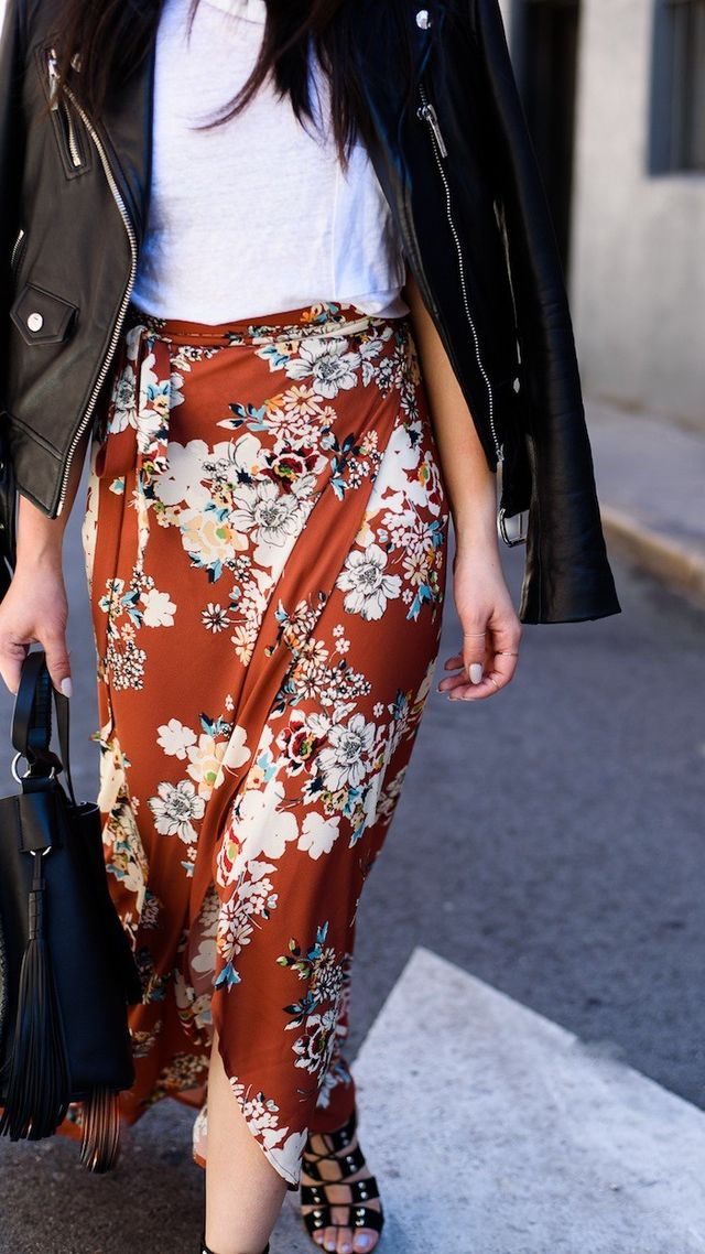 Here's How to Toughen Up Your Floral-Print Skirt
