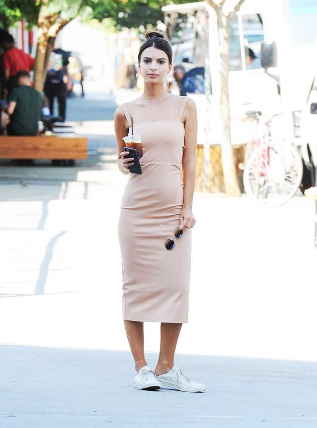 Emily Ratajkowski Leather Converse LPA Dress 27