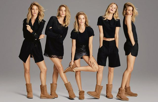 In this new campaign, Rosie Huntington-Whiteley can be seen wearing five styles of Uggs: The Abree Short, the Classic II, the McKay, the Classic Short, and the Kristin.
