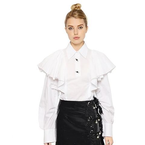 Ruffled Cotton Poplin Shirt