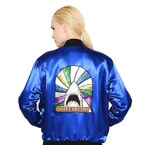 Shark Glitter Techno Satin Bomber Jacket