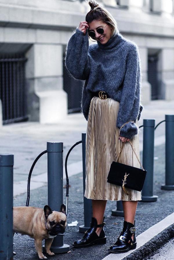 turtleneck-styling-pleated-midi-skirt