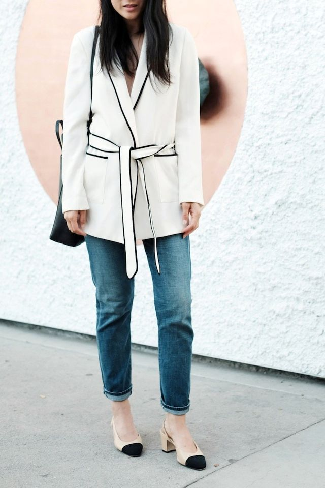 An Everyday Way to Wear a Pajama-Inspired Blazer