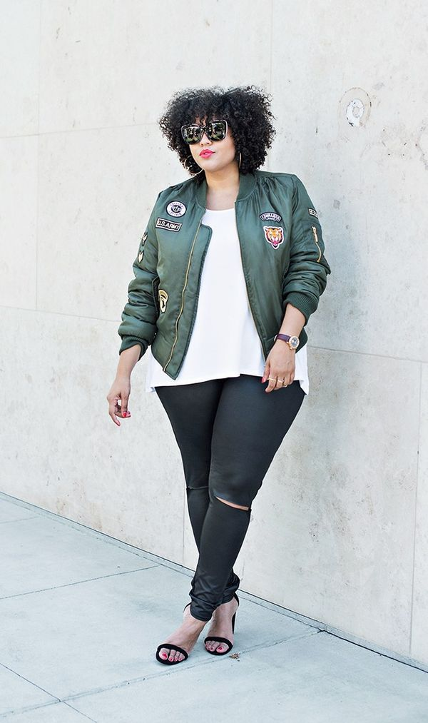 On Gabi Gregg: Boohoo Plus Tammy Badge MA1 Bomber Jacket ($44); Boohoo Plus Betsy High Waist Wet Look Legging ($20); Boohoo Plus Sloane Basic Oversized Tee ($16); Boohoo Amy Block...