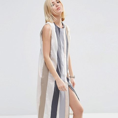 White Strip Detail Zip Midi Dress
