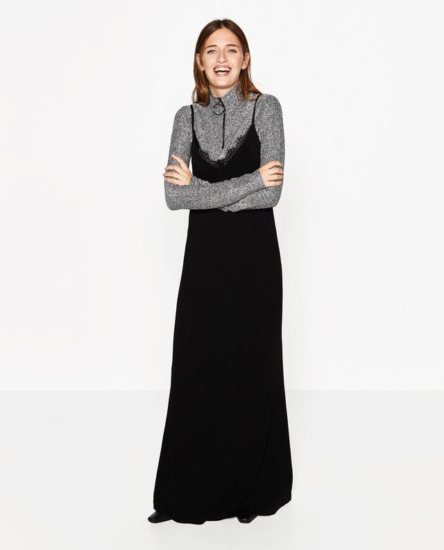 Zara Long Slip Dress and High Neck Top