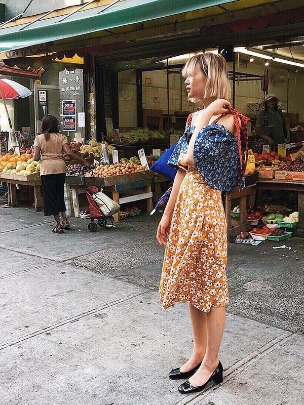 On Alyssa Lau: Eliza Faulkner dress; Prada shoes.