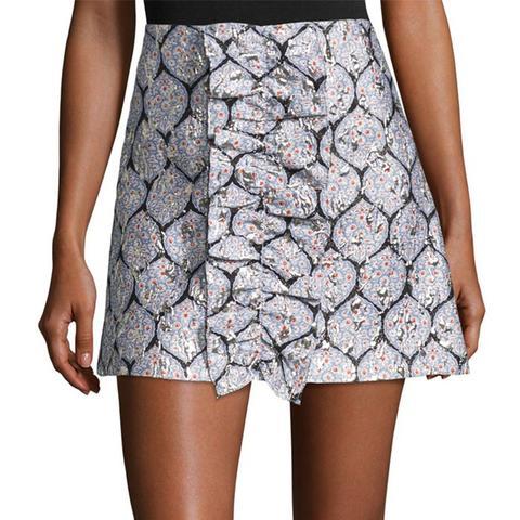 Patterned Ruffle Mini Skirt