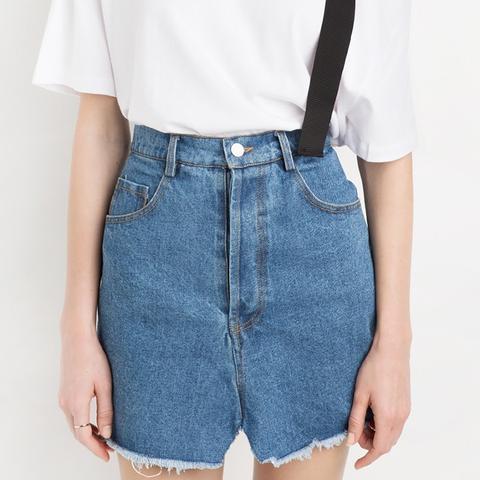 Denim Faded Back Mini Skirt