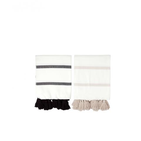 Striped Tassle Throw Blanket Black