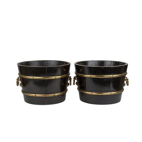 Black Wood & Brass Barrel Planters