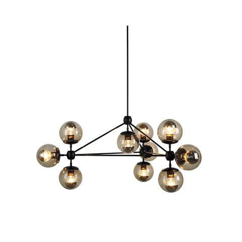 Modo Chandelier, 3 Sided, 10 Globes, Designed by Jason Miller