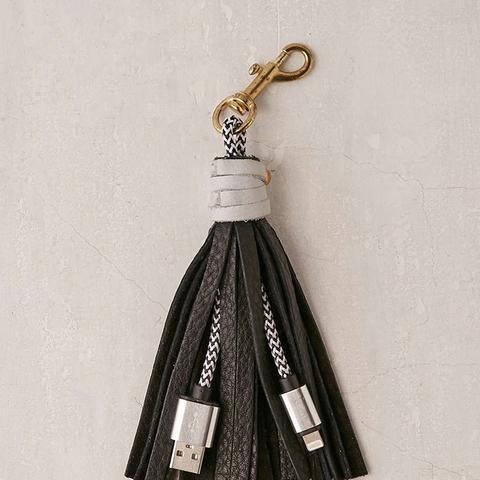 USB Leather Tassel Keychain + Charging Cord