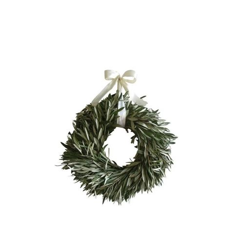 Olive Wreath with Ivory Ribbon