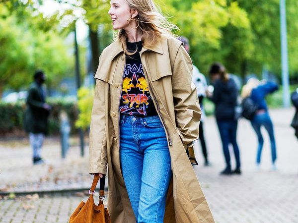 Jeans and Tee with Trench Coat and Statement Necklace Street Style