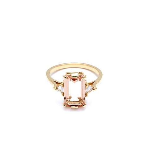 Bea Three Stone Ring With Hazeline Morganite