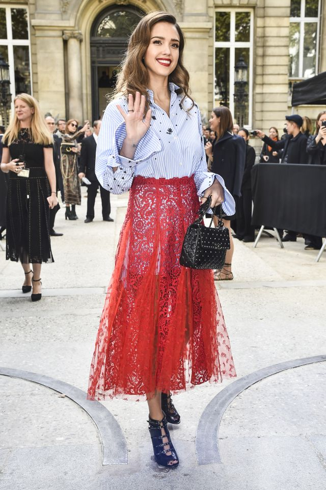 Jessica Alba Pulls Off a Completely Sheer Skirt in Paris