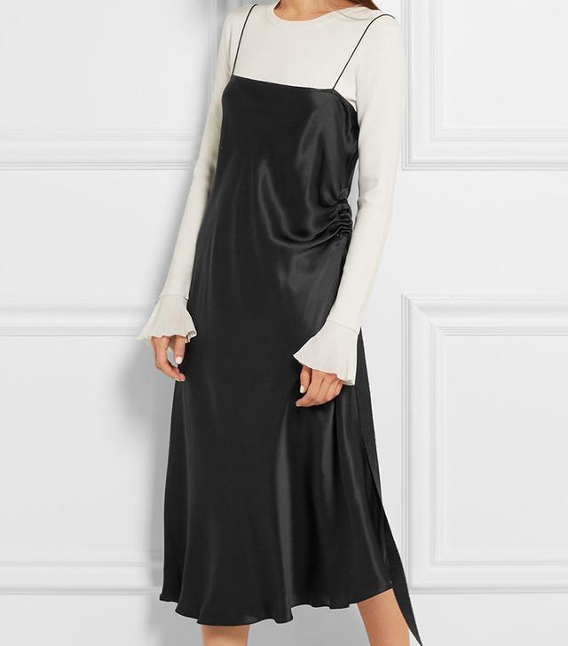 Ellery Tony Grosgrain-Trimmed Silk-Satin Midi Dress