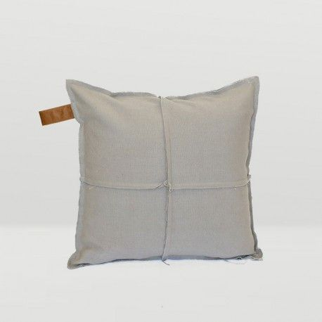 Frayed Edge Square Cushion in Stone