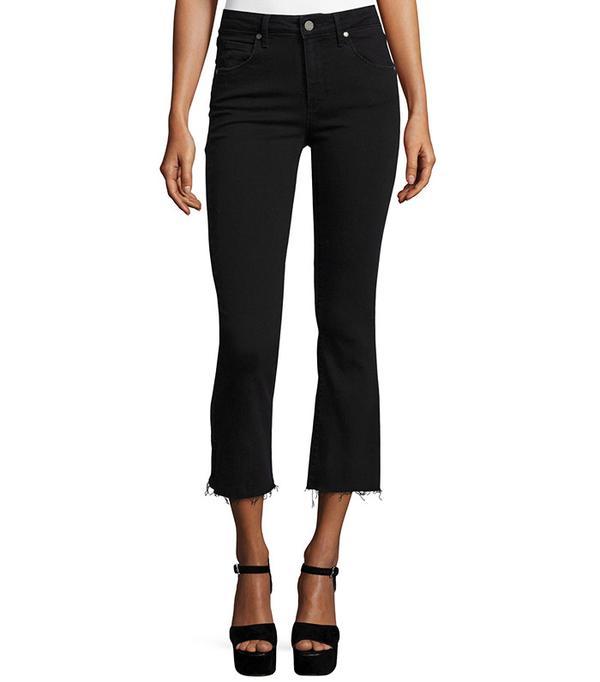 Paige Colette Crop Flare-Leg Jeans with Raw Hem