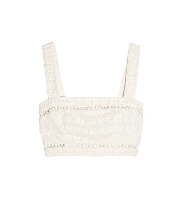 Zimmermann Sephyr Cropped Broderie Anglaise Cotton and Silk-Blend Top
