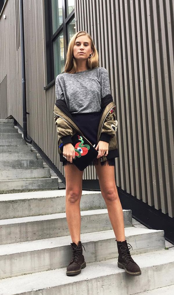 fall outfits street style bomber jacket mini skirt