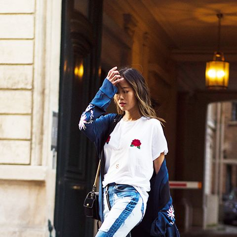 If you're going to wear embroidery on your jacket, why not wear it on your T-shirt as well?