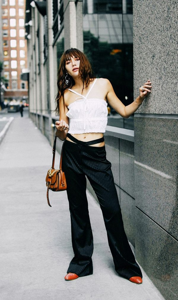fall outfits street style pinstripe pants