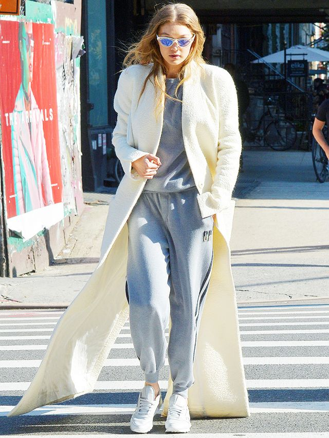 Gigi Hadid wearing dad sneakers.