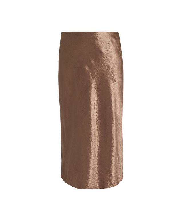 Vince Flared Midi Satin Skirt