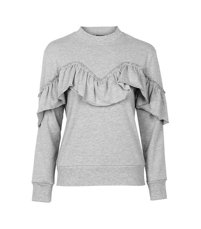 Topshop Petite Ruffle Sweatshirt