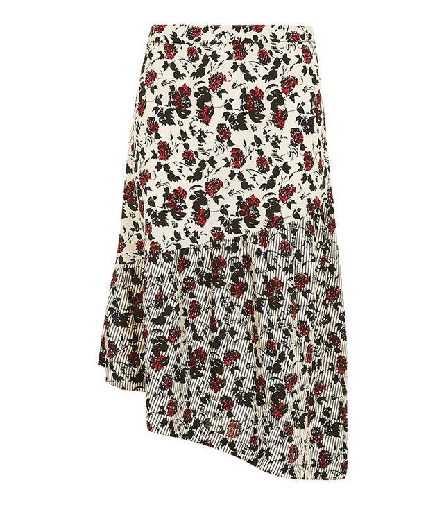 Topshop Floral Ruffle Midi Skirt