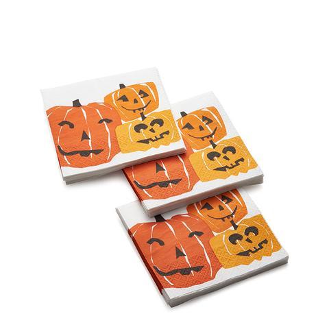 Halloween Pumpkins Paper Beverage Napkins, Set of 20
