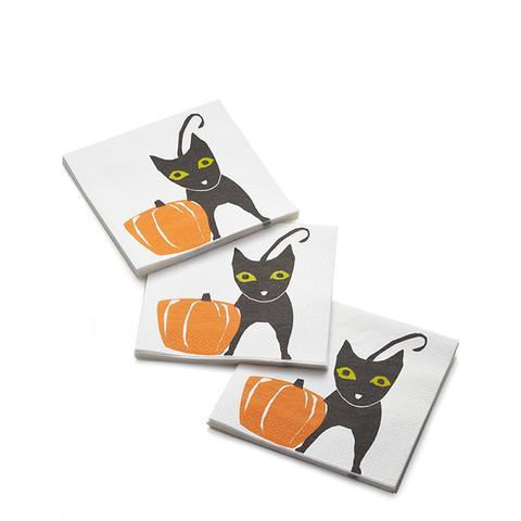 Black Cat Paper Lunch Napkins, Set of 20
