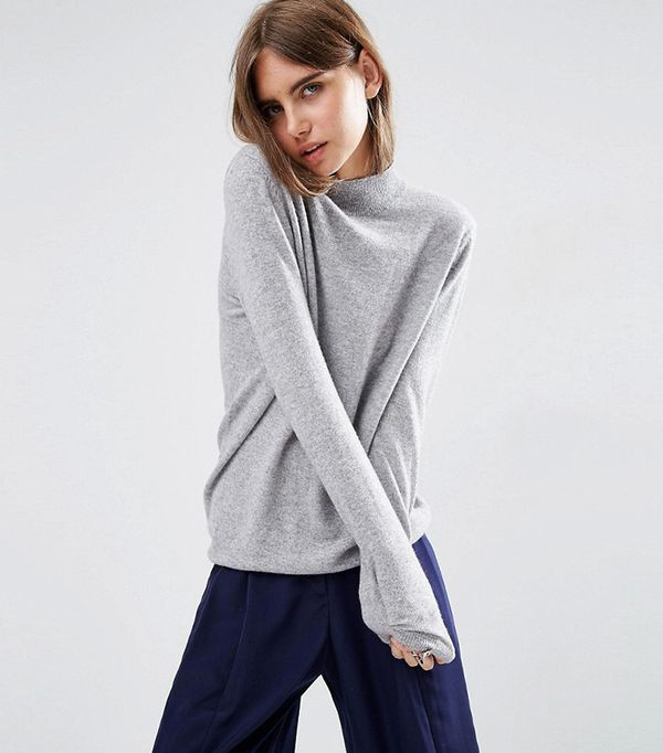 ASOS White Cashmere Relaxed Funnel Neck Sweater