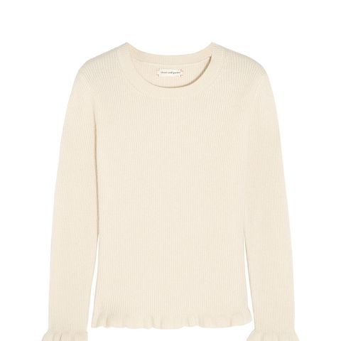 Ruffled Ribbed Cashmere Sweater