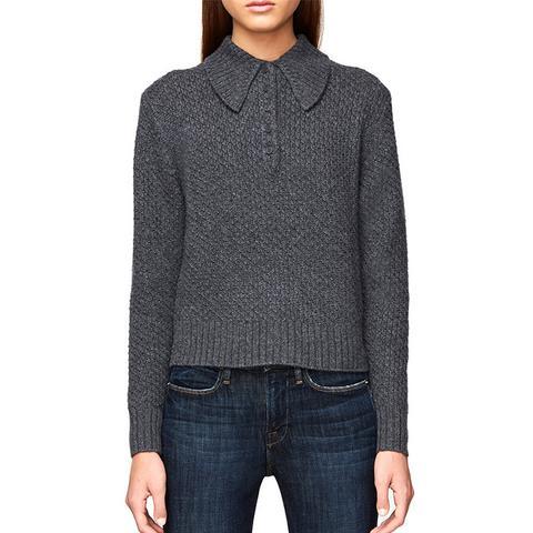 Cashmere Button Shawl Collar Sweater
