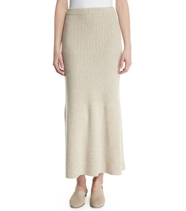 The Row Skaton High-Waist Cashmere Maxi Skirt