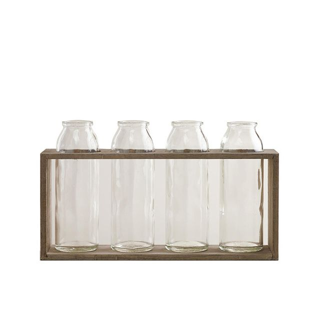 Bottle Vases with Wood Holder