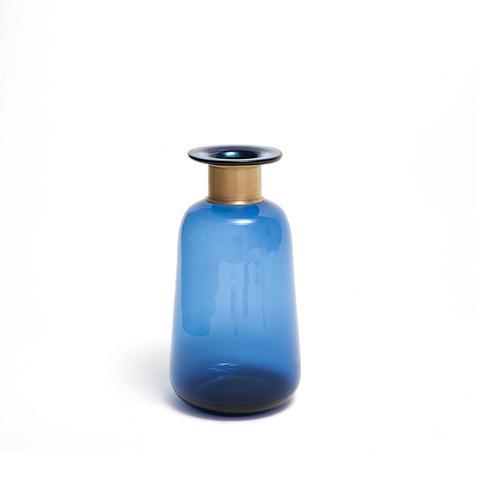 Golden Metal and Blue Glass Vase