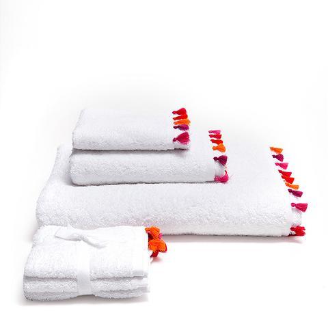 Fuschia Pompom Cotton Towels