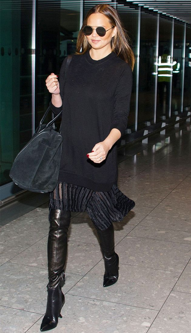 Chrissy Teigen's Two-in-One Dress Is Perfect for the Airport