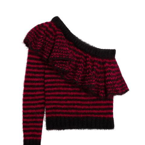 One-Shoulder Ruffled Mohair-Blend Sweater