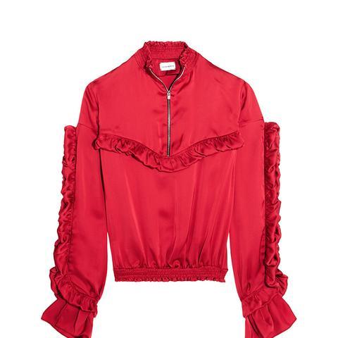 Granada Ruffled Silk-Satin Blouse