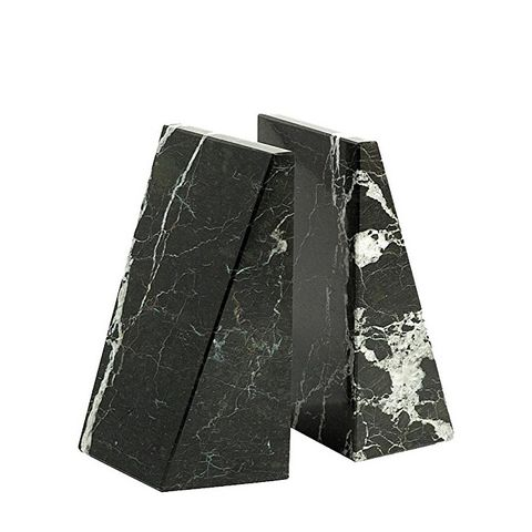 Triangle Black and White Marble Bookends